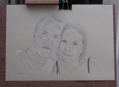 Couple (3) - Les portraits couples au crayon et craie blanche - La photo du portrait